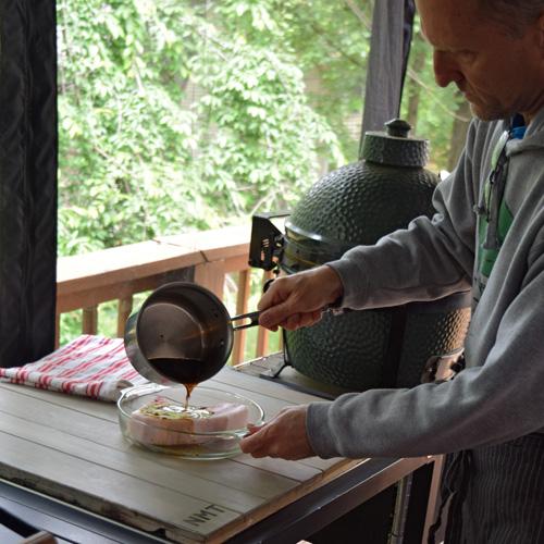 Making the Knob Creek Bourbon marinade