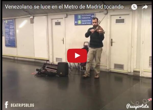 Violinista venezolano callejero triunfa en el Metro de Madrid