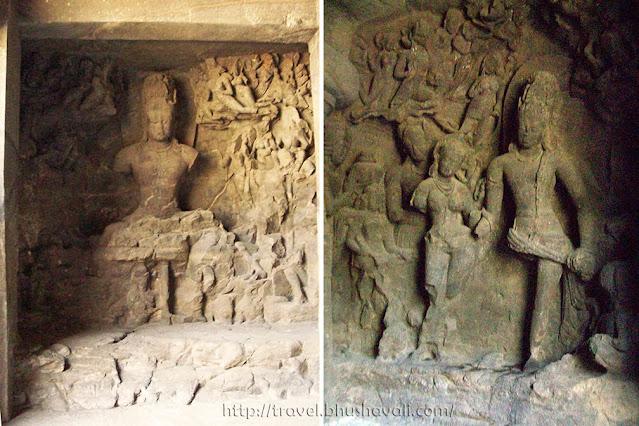Caves of elephanta sculptures Yogeshwara Kalyanasundara Moorthy Shiva