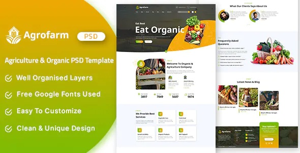 Best Agriculture & Organic PSD Template