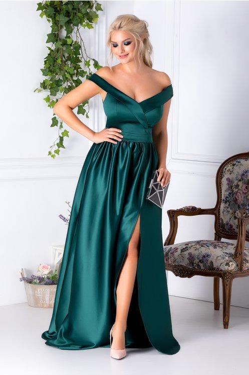 Rochie lunga verde de seara cu decolteu generos