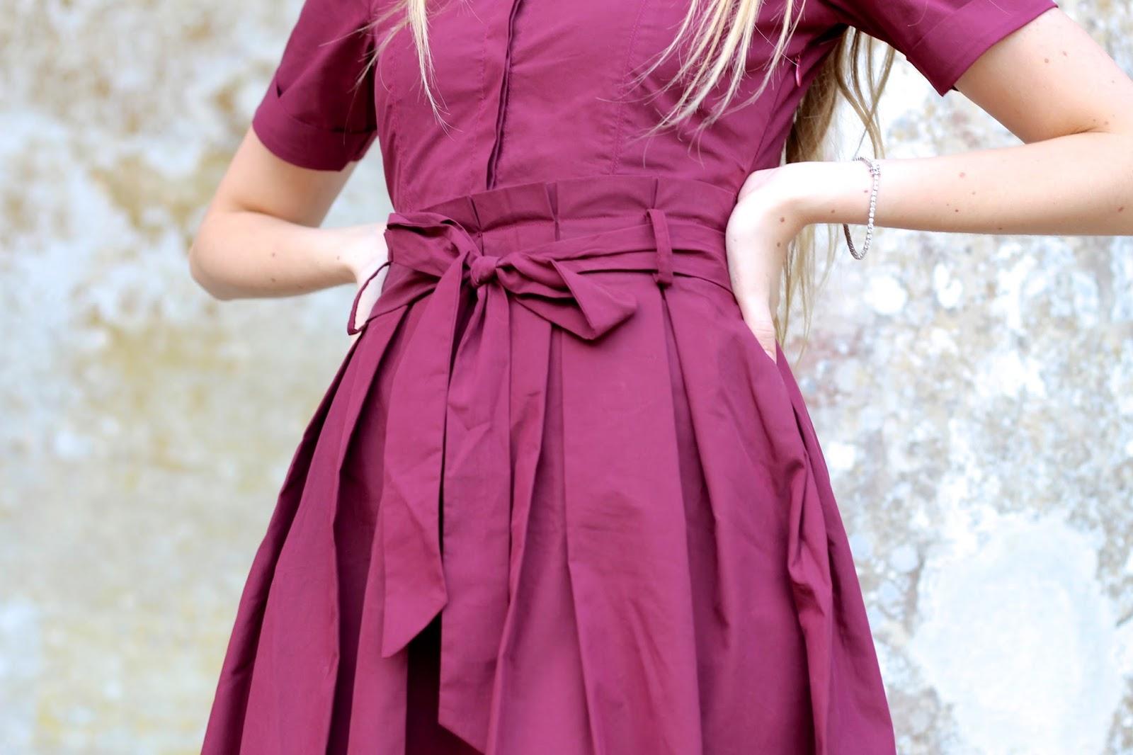 House of Fraser Lost Ink Burgundy Shirt Dress
