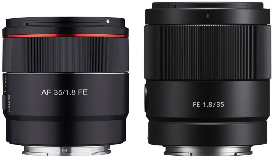 Сравнение размеров Samyang AF 35mm f/1.8 FE и Sony FE 35mm f/1.8