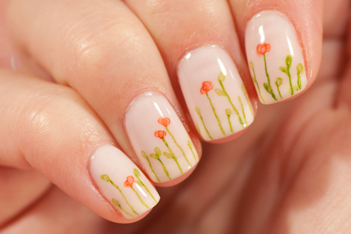 Watercolour Floral Manicure on Essie Ballet Slippers
