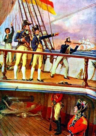 Adm. Horatio Nelson en la cubierta de la victoria del HMS