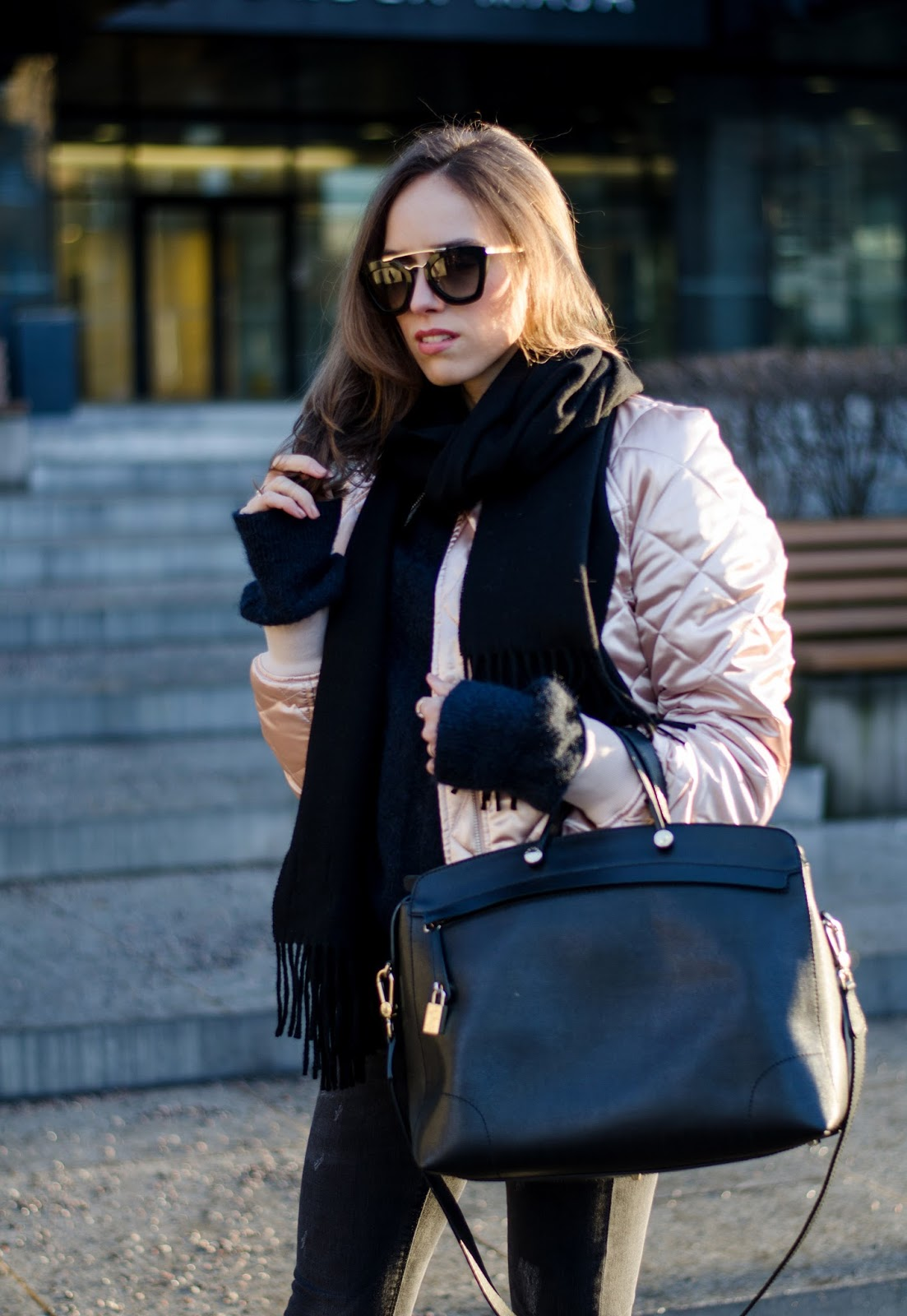 pink bomber black acne scarf