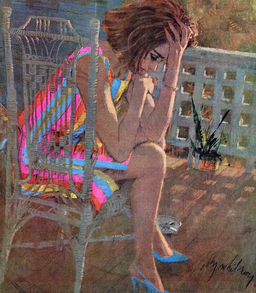 a Coby Whitmore magazine illustration of a woman in a chair