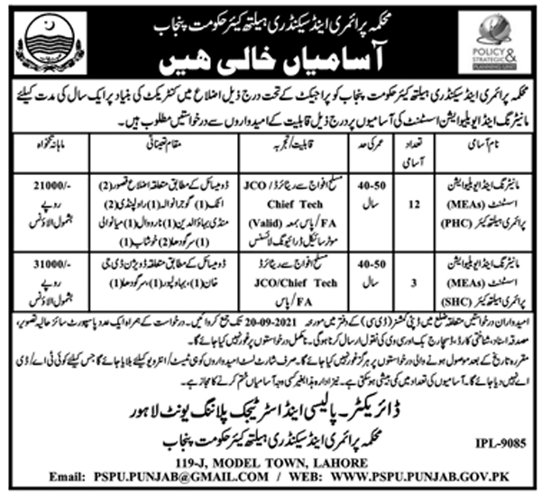 Primary and Secondary Healthcare Department Punjab Jobs 2021 Latest