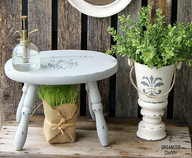 Upcycled, Repurposed and Stenciled Stools  #IODtransfer #upcycle #dixiebellepaint #farmhousestyle