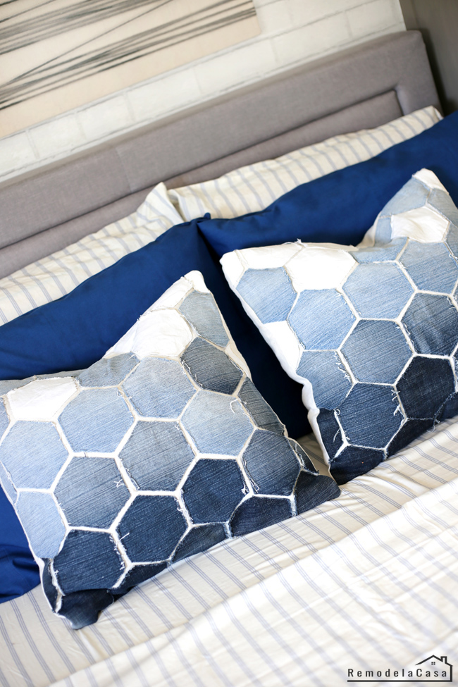 old jeans used to create hexagon pillows