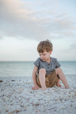 Sanibel shell covered beaches are great for family pictures
