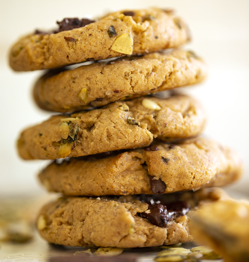 Peanut Butter Pumpkin Seed Chocolate Chunk Cookies
