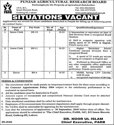 Punjab Agriculture Research Board Jobs 2018 Lahore | Clerks | September