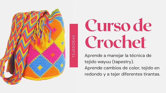 Taller virtual: Aprende a tejer una mochila wayuu con cambios de hilo y tejido en redondo