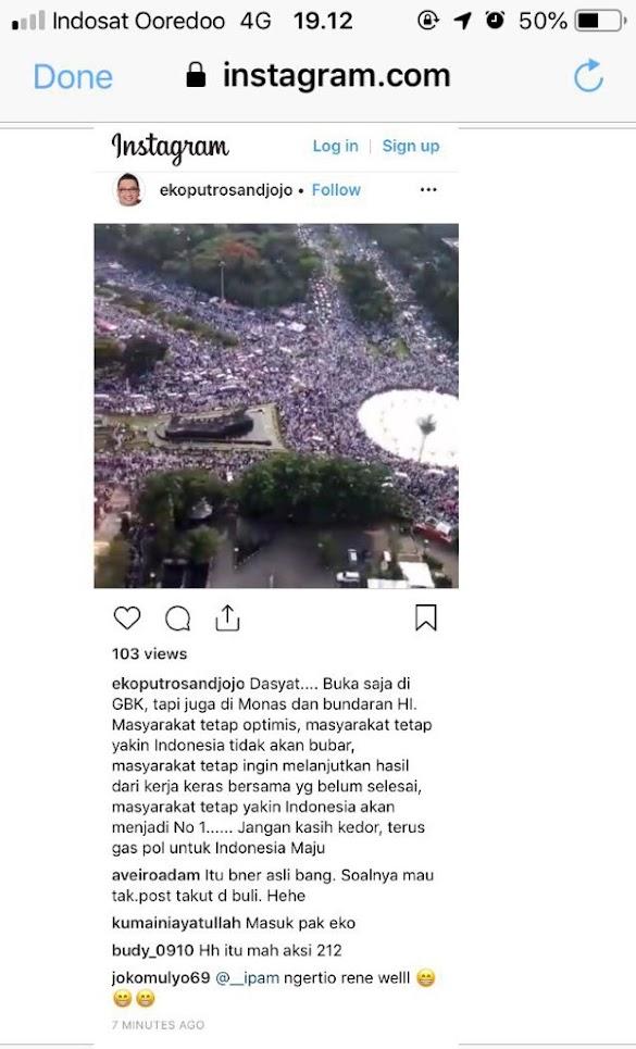 Tercyduk! Menteri Jokowi Sebar HOAX Acara 212 Diklaim Kampanye 01 GBK