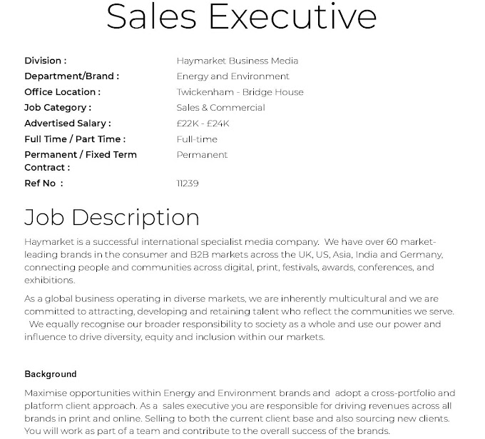 Jobs in UK for Sales Executive
