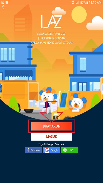 Halaman Untuk Memulai Membuat Akun Lazada Customer di Smartphone.