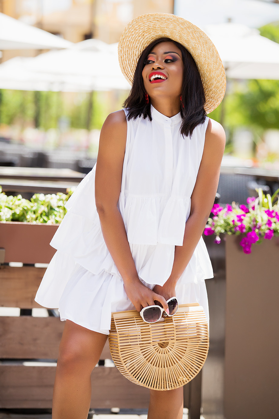 weekend style,white frill oversize shirt dress, www.jadore-fashion.com