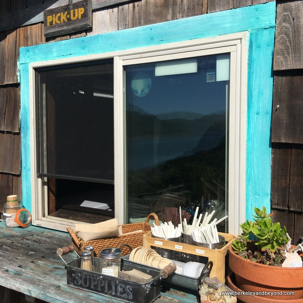 outside pick-up window at Cafe Aquatica in Jenner, California