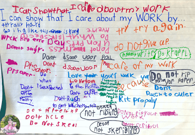 Anchor chart that shows student brainstorming about how they can show they care about their work.