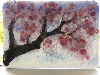 Sakura Cherry Blossom Japanese Asian Ornament Handmade Glass Fused Sharon Warren FluterbyButterfly FlutterbyFoto Bullseye Pink Painting