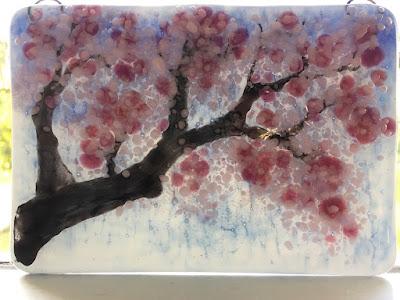 How To Make Sakura Cherry Blossom Fused Glass Ornament Sharon Warren Glass FluterbyButterfly sharonwarrenglass Bullseye Pink Painting