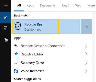 recover deleted file from recycle bin