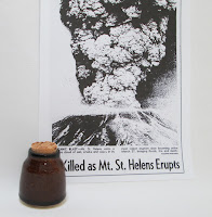 Mt Saint Helens Ash Pottery Bottle Cork Top  with newspaper