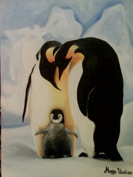 painting of a penguin, penguins painting, oil on canvas, oil painting technique, art work,