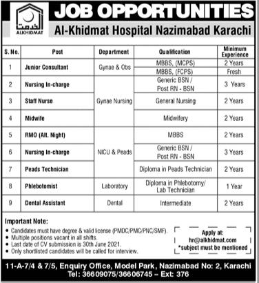 Al-Khidmat Hospital Nazimabad Karachi Jobs 2021
