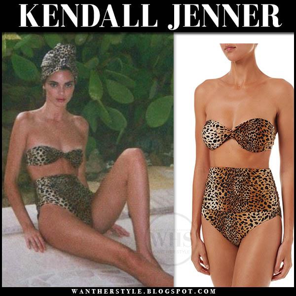 Kendall Jenner in cheetah print melissa odabash lyon bikini and leopard print turban. Celebrity beach style august 15