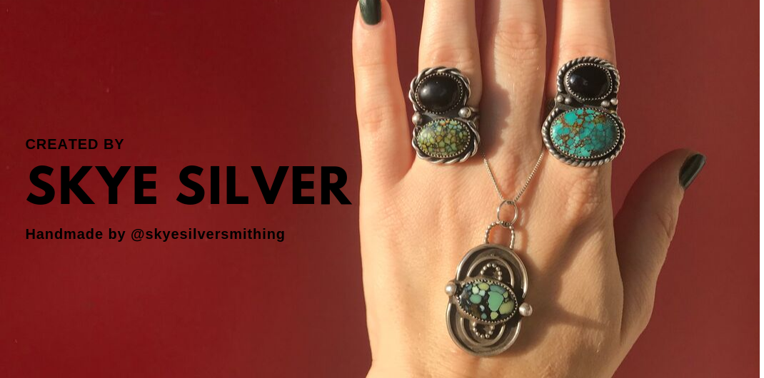 Sterling Silver Rings with Turquoise and Onyx Cabochons