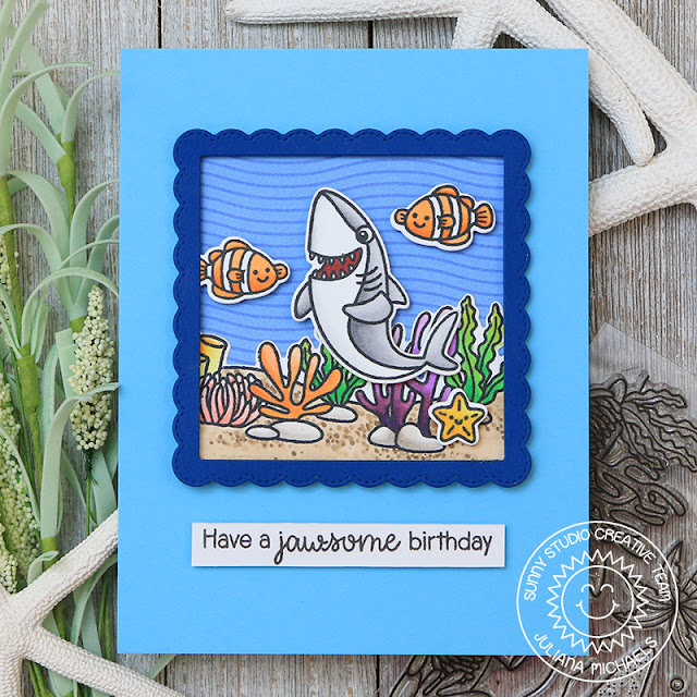 Sunny Studio Stamps: Best Fishes Sea You Soon Tropical Scenes Birthday Cards by Juliana Michaels