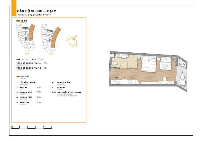 Mặt bằng studio dự án căn hộ Sunbay Park Hotel Ninh Thuận