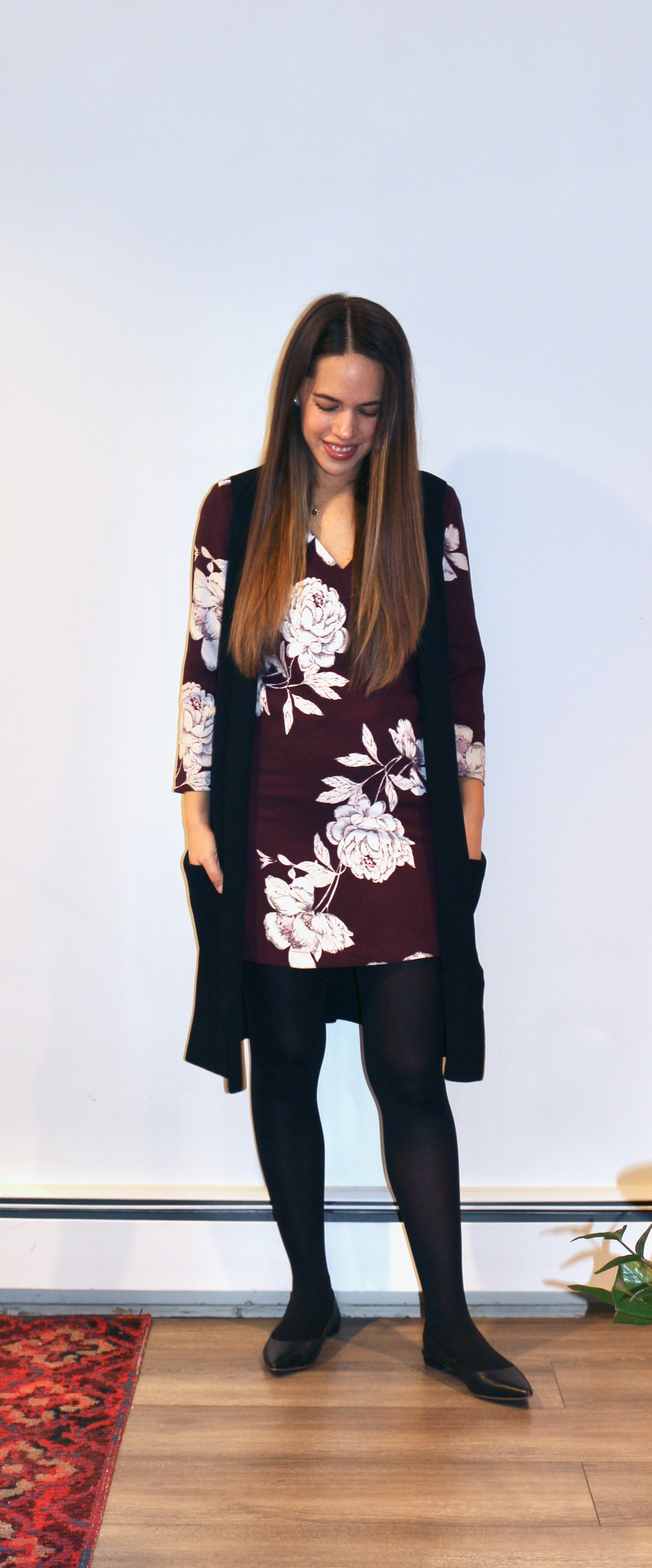 Jules in Flats - V-Neck Floral Shift Dress with Knit Duster (Business Casual Workwear on a Budget)