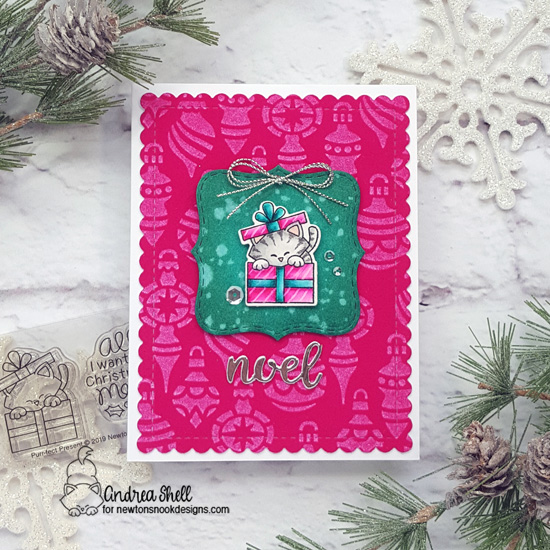 Cat in Christmas Gift Card by Andrea Shell | Purr-fect Present Stamp Set and Ornaments Stencil by Newton's Nook Designs #newtonsnook #handmade