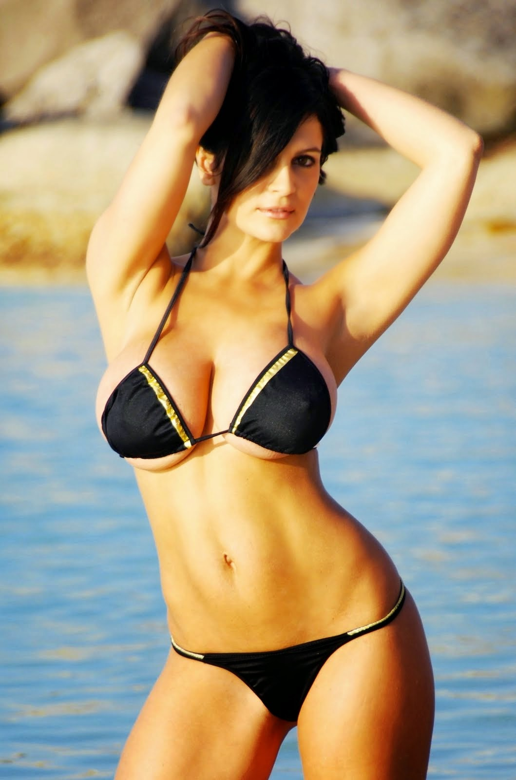 Denise Milani In Black Bikini 15