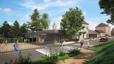 Perspective 3d école élémentaire et mairie