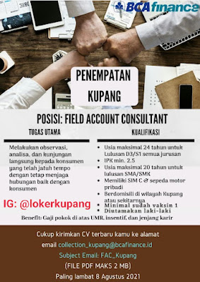 Lowongan Kerja BCA Finance Sebagai Field Account Consultant