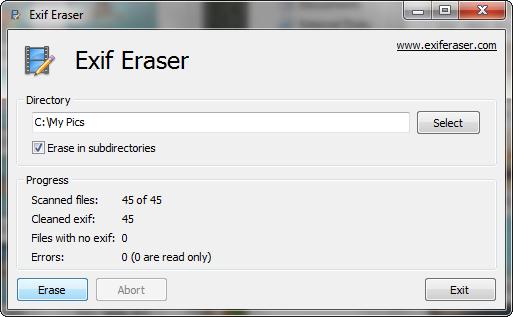 Programma per cancellare dati EXIF dalle Fotografie