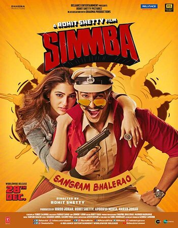 Simmba (2018) Hindi Movie 480p DVDRip x264 450MB