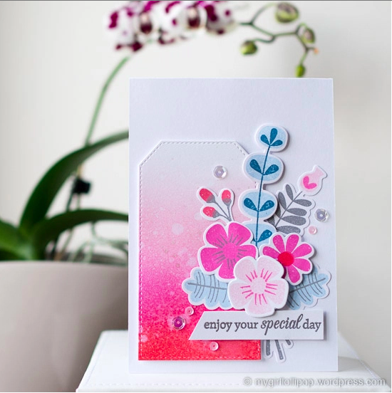 Handmade Card featuring the Fall Florals stamp set and Die-namics and the Lisa Johnson Designs Birthday Greetings stamp set - Gemma C. #mftstamps