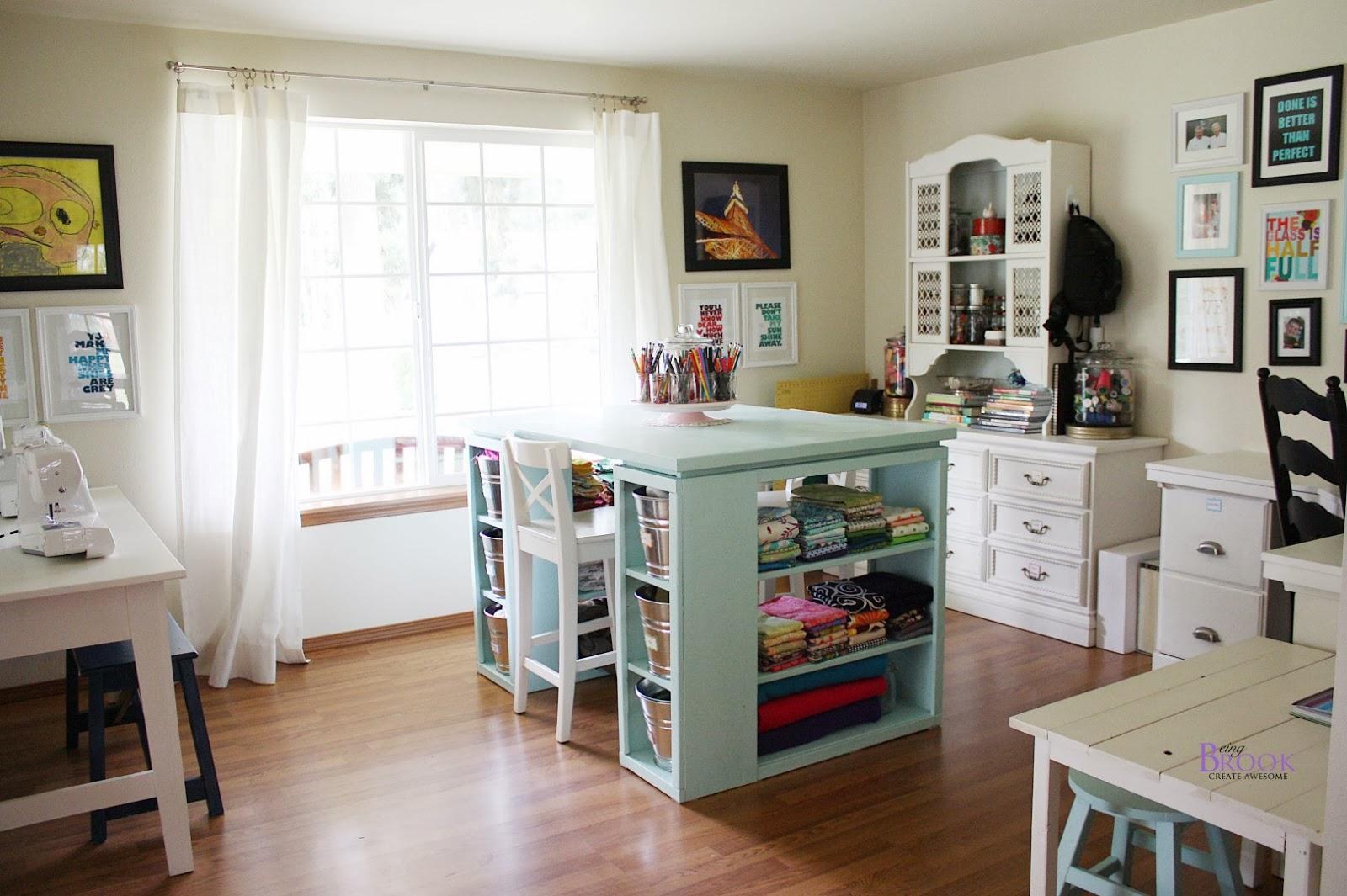 Craft Room Desk: Ribbon Rack, Shelf, Desk