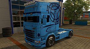 Blue V8 skin for Scania RJL