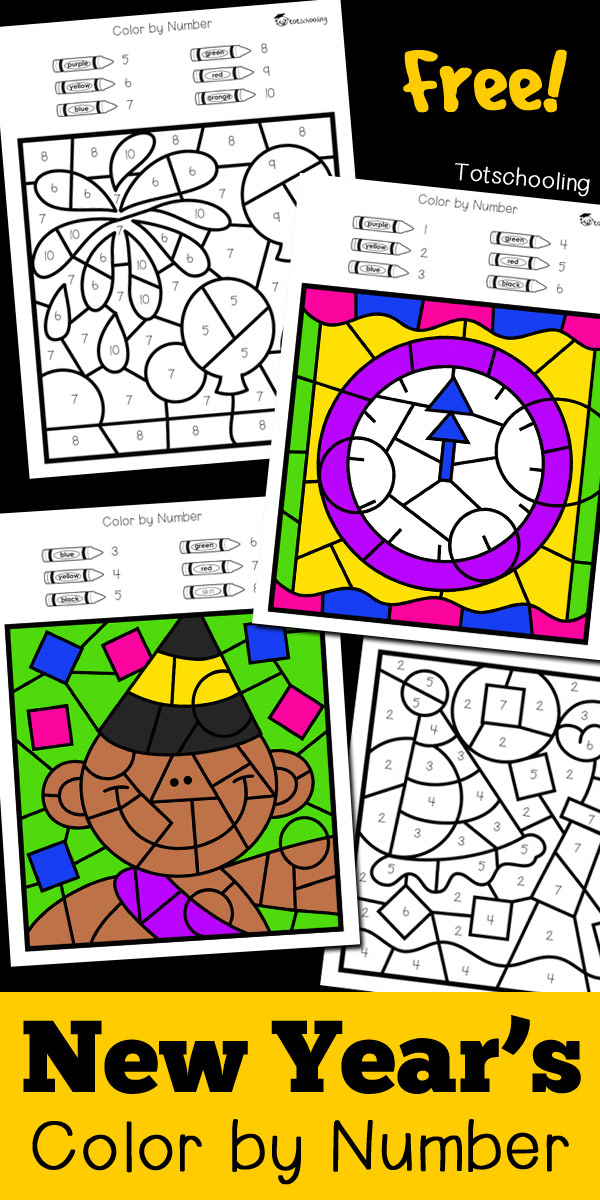 FREE New Year's Eve coloring worksheets to practice numbers, fine motor skills and color words. Fun preschool or kindergarten New Year activity where kids can color fireworks, clocks, party hats and confetti!