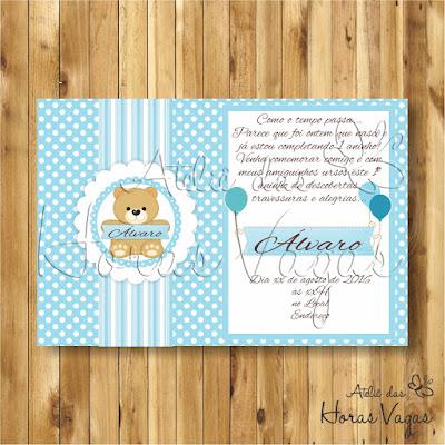 covnite digital aniversário infantil personalizado ursinho urso poá bolinhas azul e branco delicado 1 aninho menino