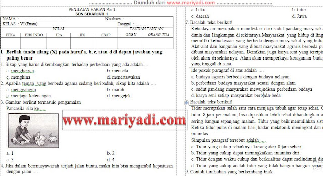 Download Soal UH/PH Kelas 6 SD/MI Tema 8 Subtema 3: Bumi, Matahari dan Bulan