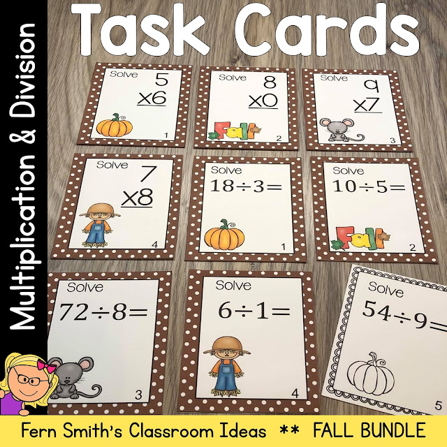Enjoy this Fall Multiplication and Division Task Cards in your Math Center!