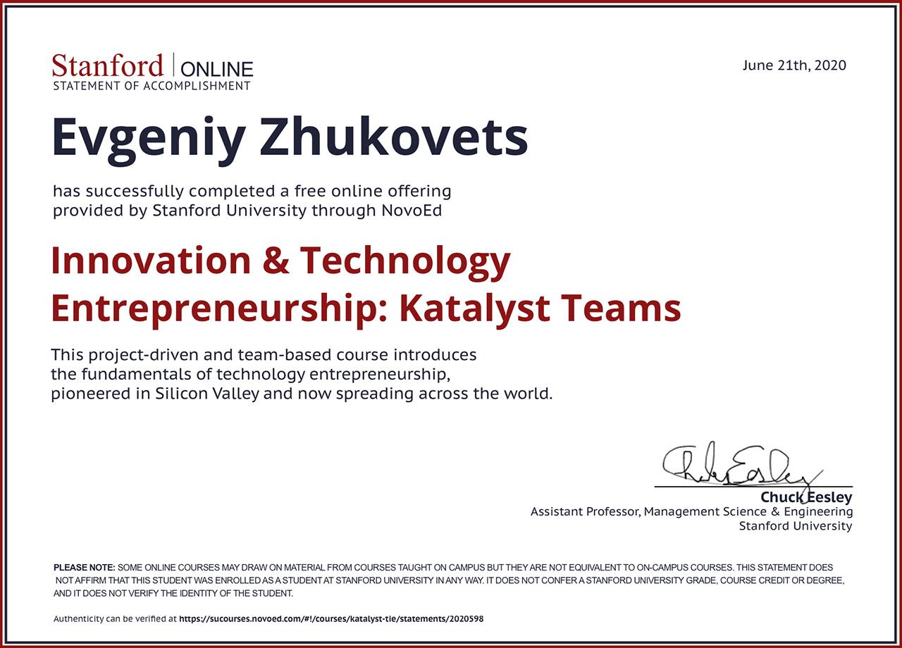 Stanford Online Certificate: Innovation & Technology Entrepreneurship: Katalyst Teams