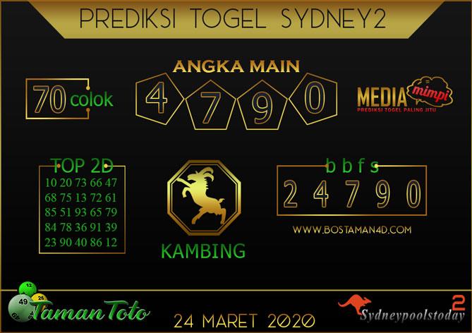 Prediksi Togel SYDNEY 2 TAMAN TOTO 24 MARET 2020
